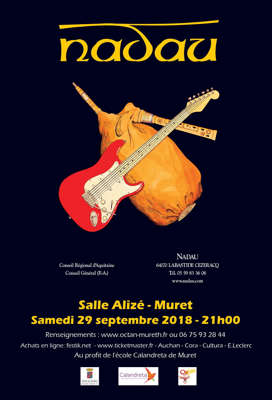 Nadau en concert à Muret le samedi 29 septembre 2018 !