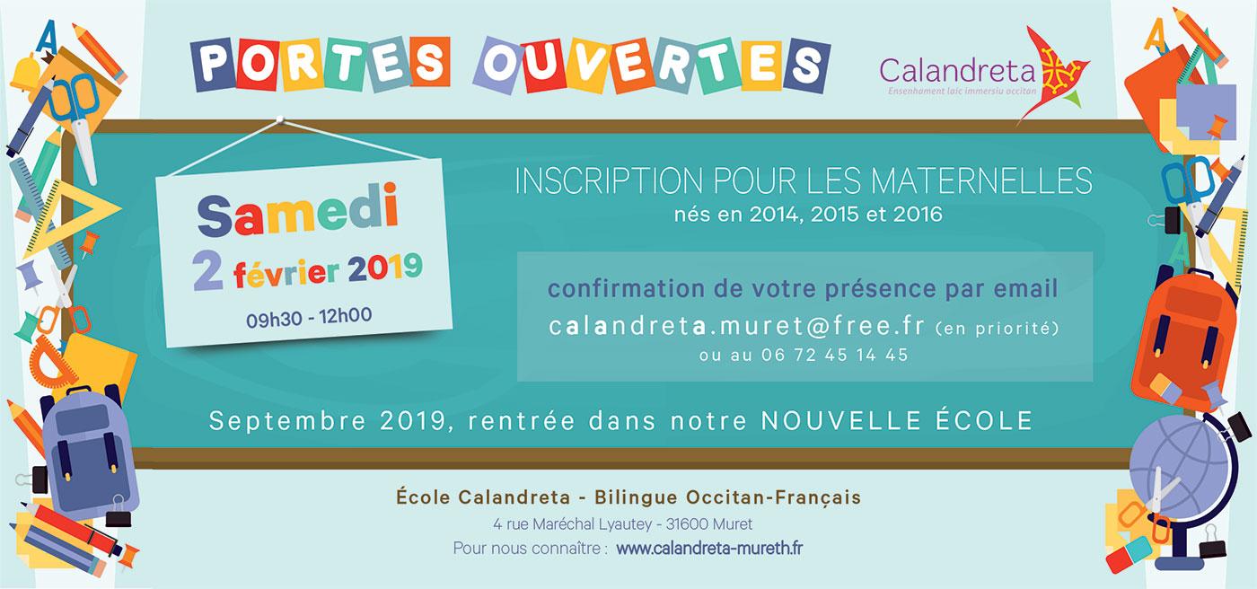 Portes ouvertes école calandreta Muret inscriptions 2019